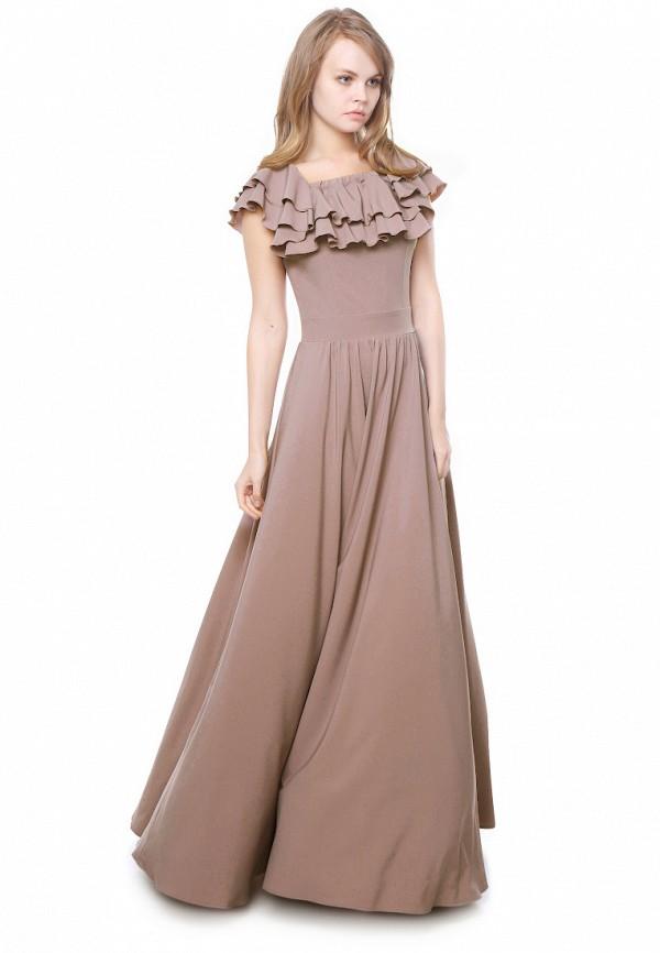 женское платье макси marichuell, коричневое