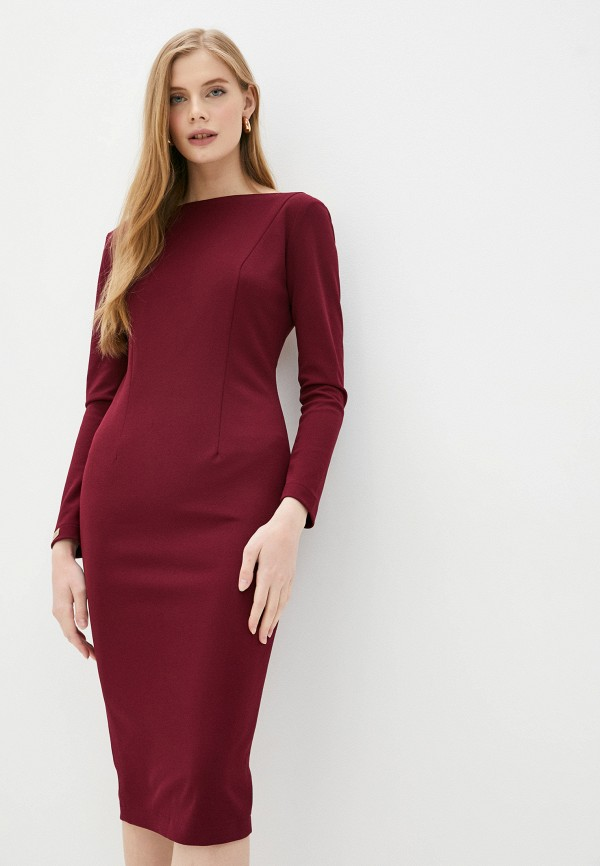 женское платье-футляр royal elegance, бордовое