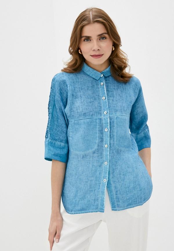 женская блузка с коротким рукавом agenda, голубая