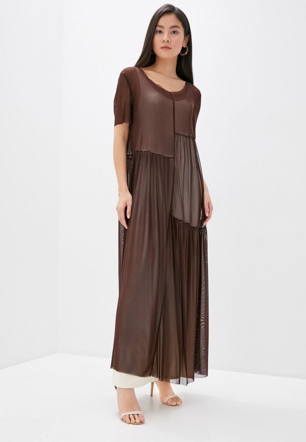 женское платье мини adzhedo, коричневое