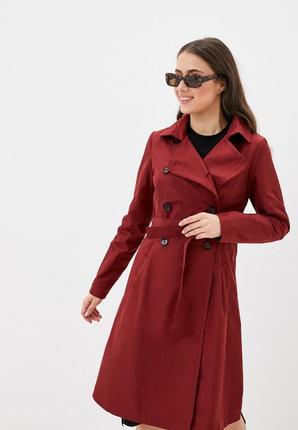 женский плащ rosso style, бордовый