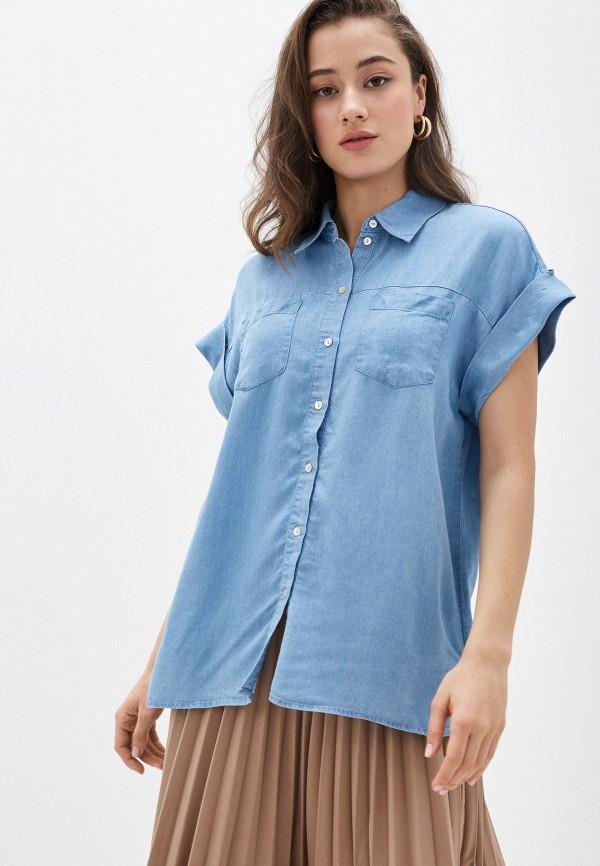 женская рубашка с коротким рукавом zarina, голубая