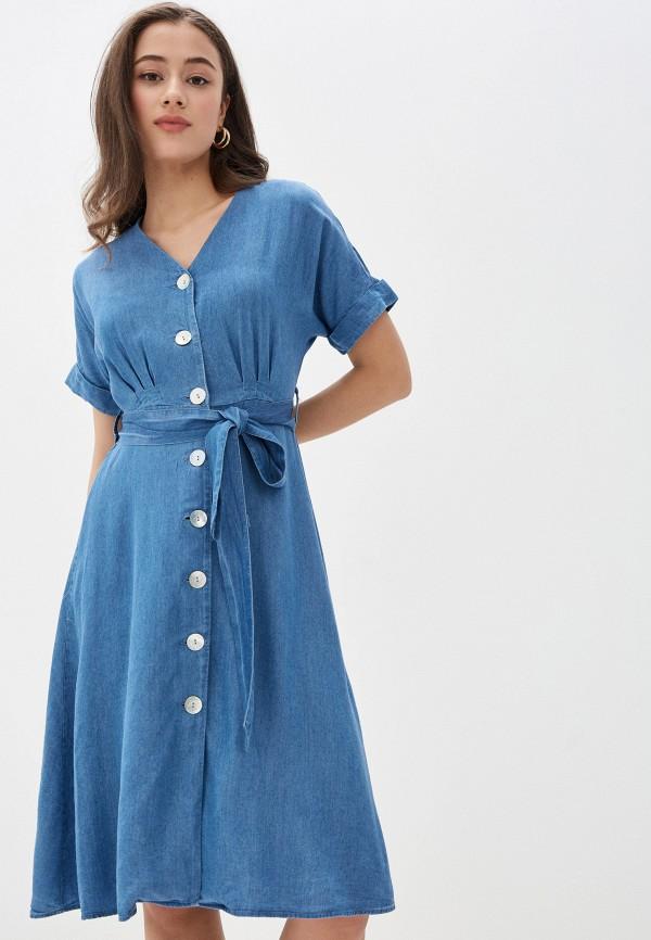 женское платье миди zarina, голубое