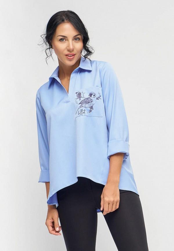 женская блузка с длинным рукавом bellart, голубая