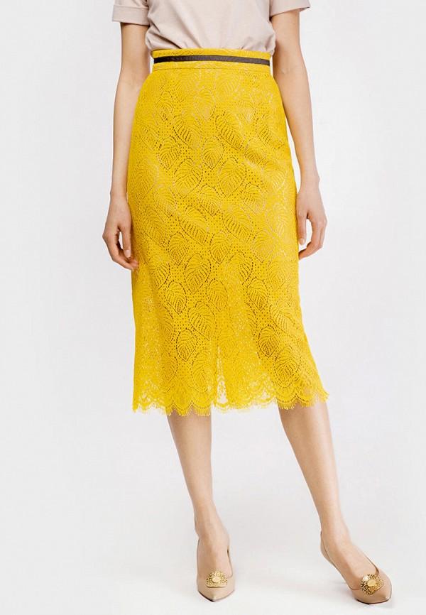 женская прямые юбка true colors, желтая