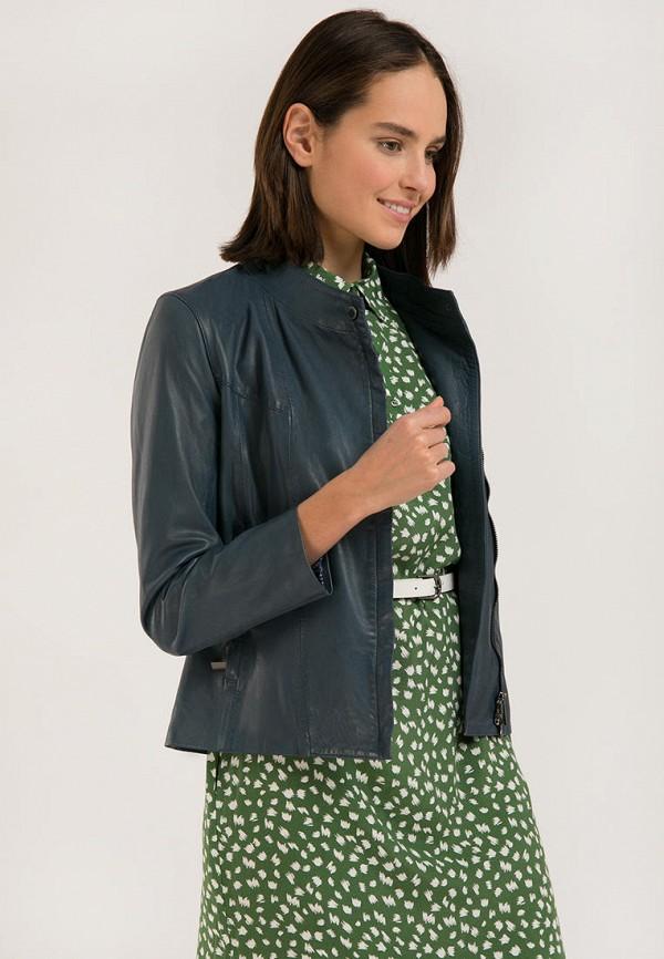 Куртка кожаная Finn Flare бирюзового цвета