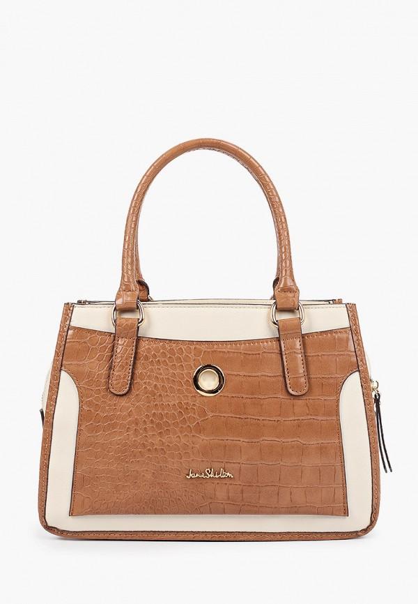 женская сумка с ручками jane shilton, коричневая