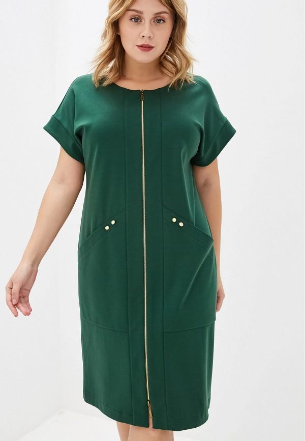 женское платье космея, зеленое