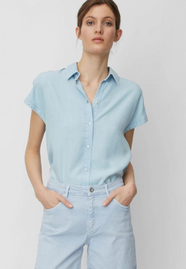 женская рубашка с коротким рукавом marc o'polo, голубая