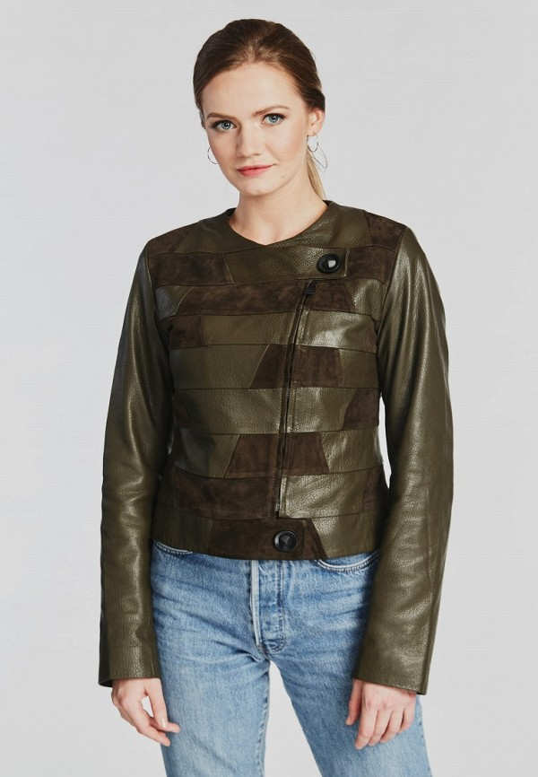 Купить Куртка кожаная Mondial, mp002xw15iqc, зеленый, Весна-лето 2018