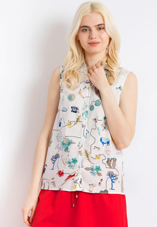 женская рубашка с коротким рукавом finn flare, белая
