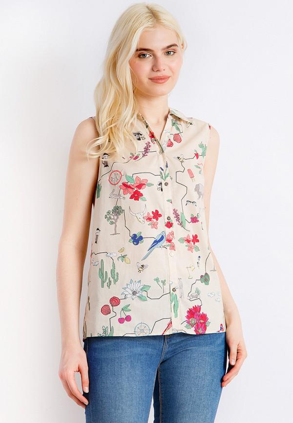 женская рубашка с коротким рукавом finn flare, бежевая