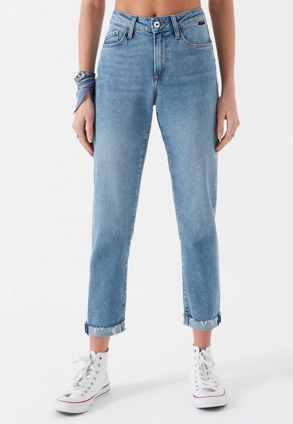 женские джинсы бойфренд mavi, голубые