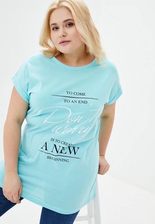 женская футболка роза, бирюзовая
