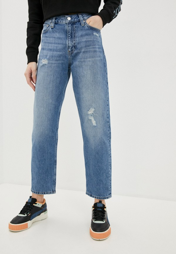 женские джинсы клеш calvin klein, синие