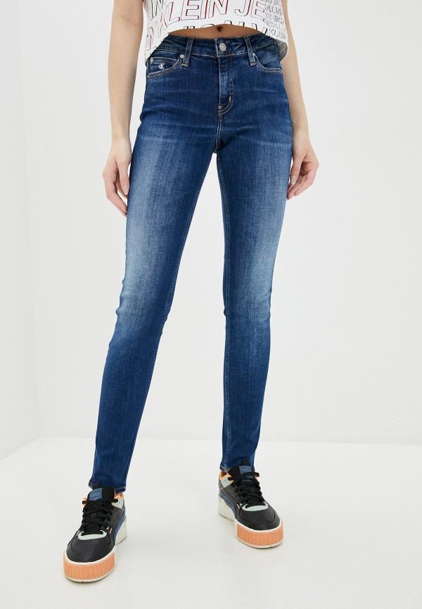 женские джинсы скинни calvin klein, синие