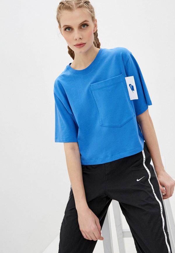 женская спортивные футболка nike, голубая