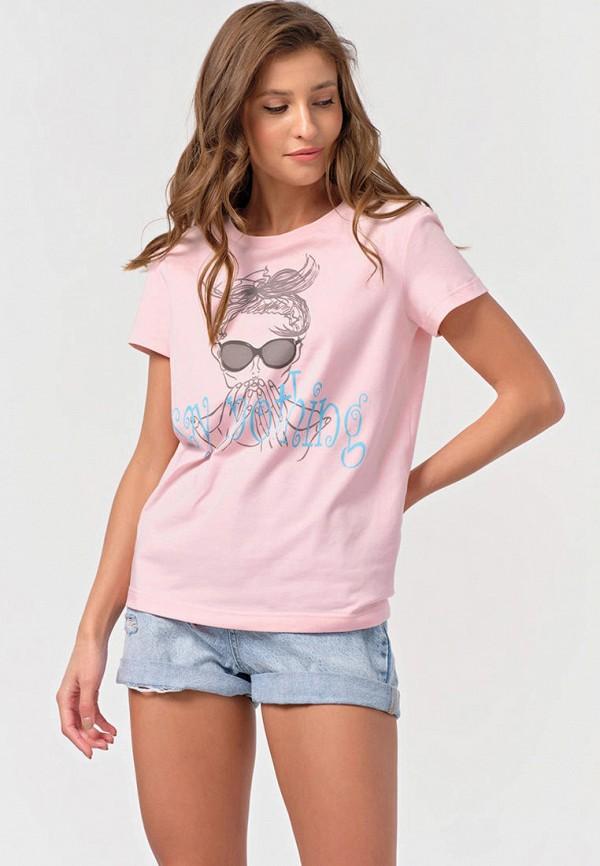 женская футболка fly, розовая