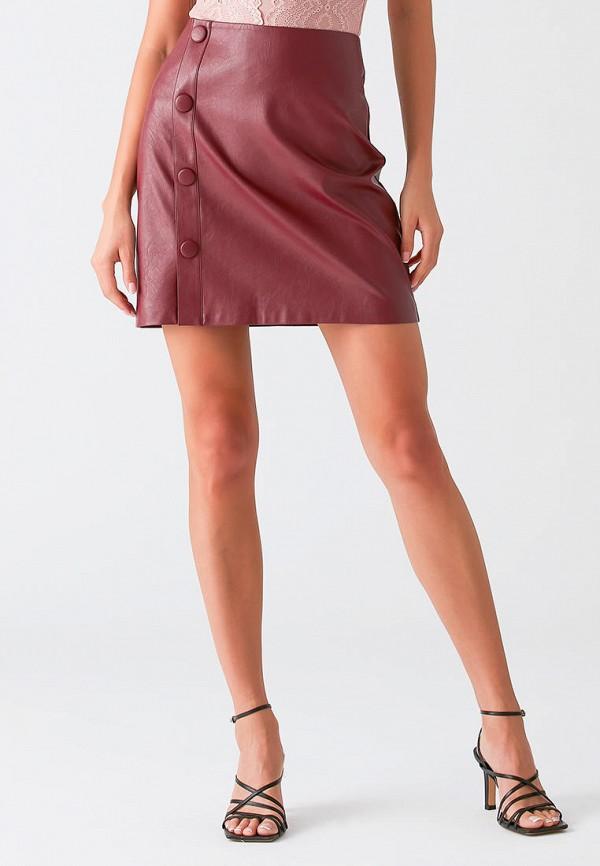 женская кожаные юбка love republic, бордовая