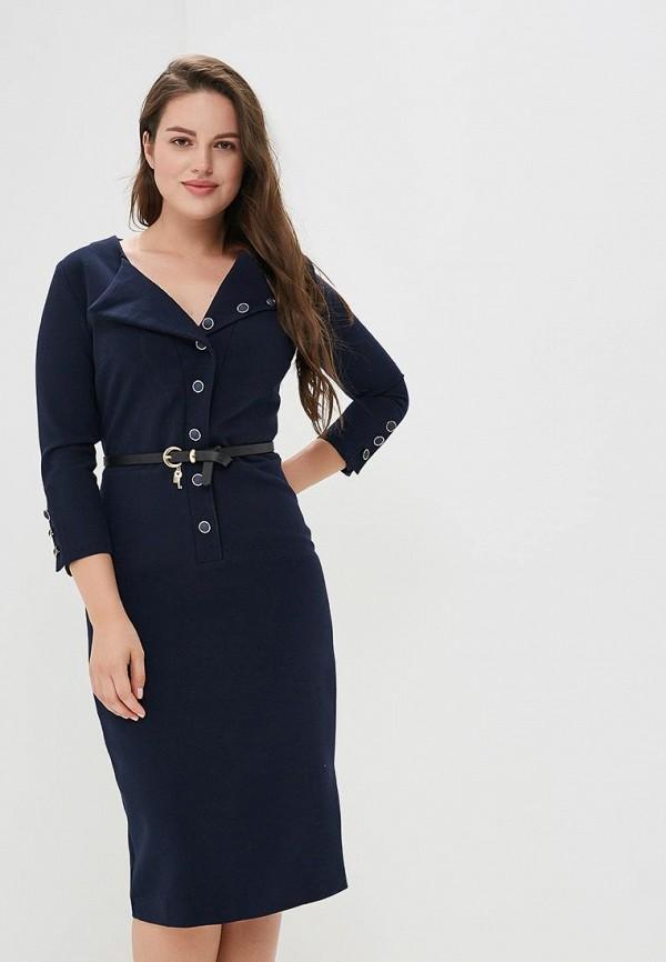 женское платье-футляр bezko, синее