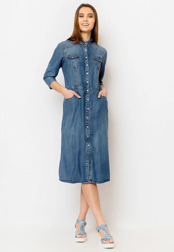 женское джинсовые платье finn flare, синее