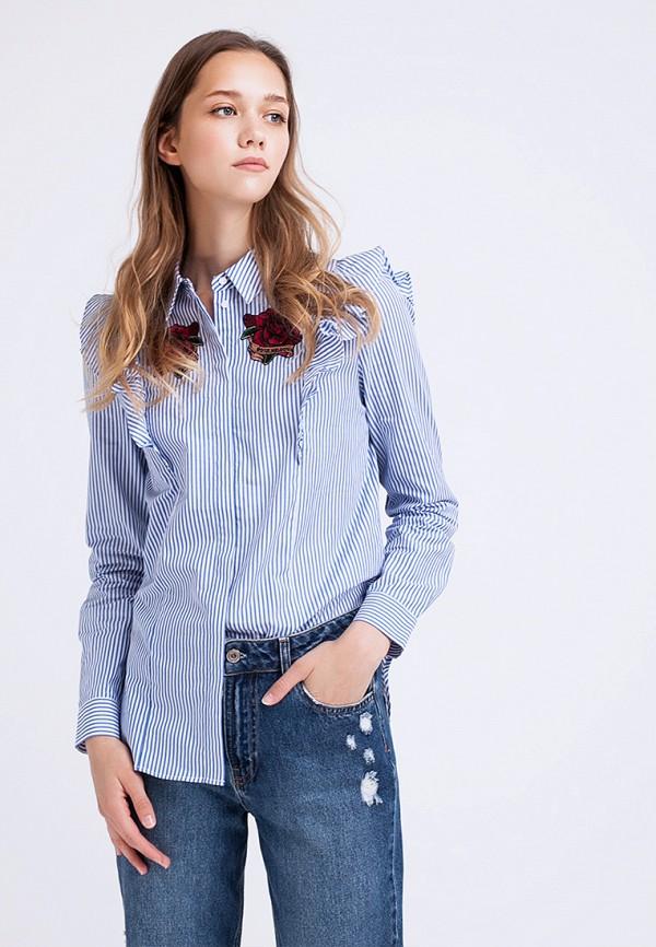женская рубашка с длинным рукавом lime, синяя