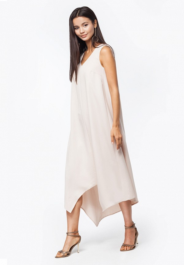 женское платье макси vilatte, бежевое