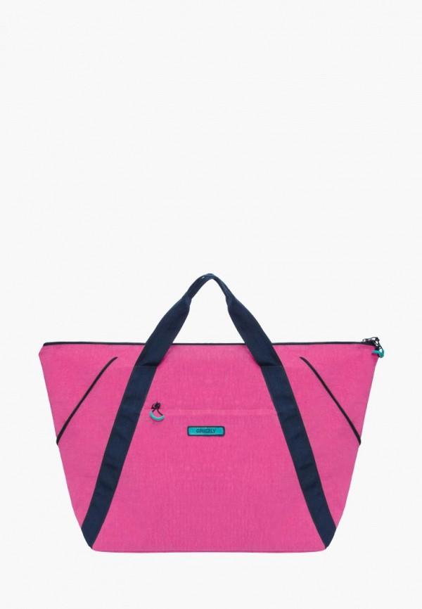 женская дорожные сумка grizzly, розовая