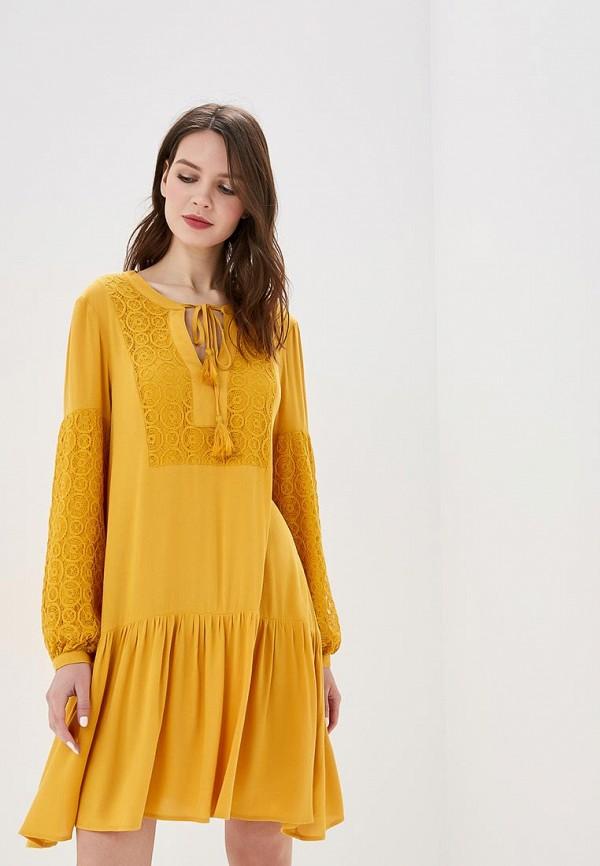 женское повседневные платье top secret, желтое