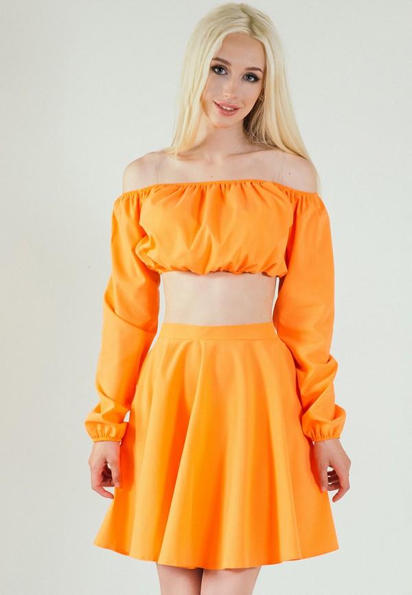 мужская юбка мини подіум, оранжевая