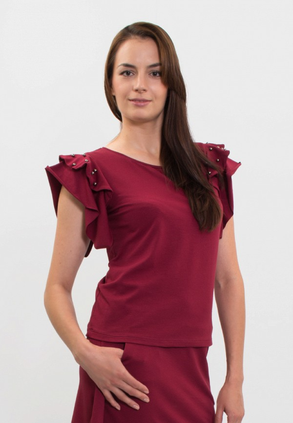 мужская футболка с коротким рукавом anna bask, бордовая