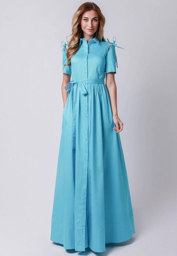 женское повседневные платье olga skazkina, голубое