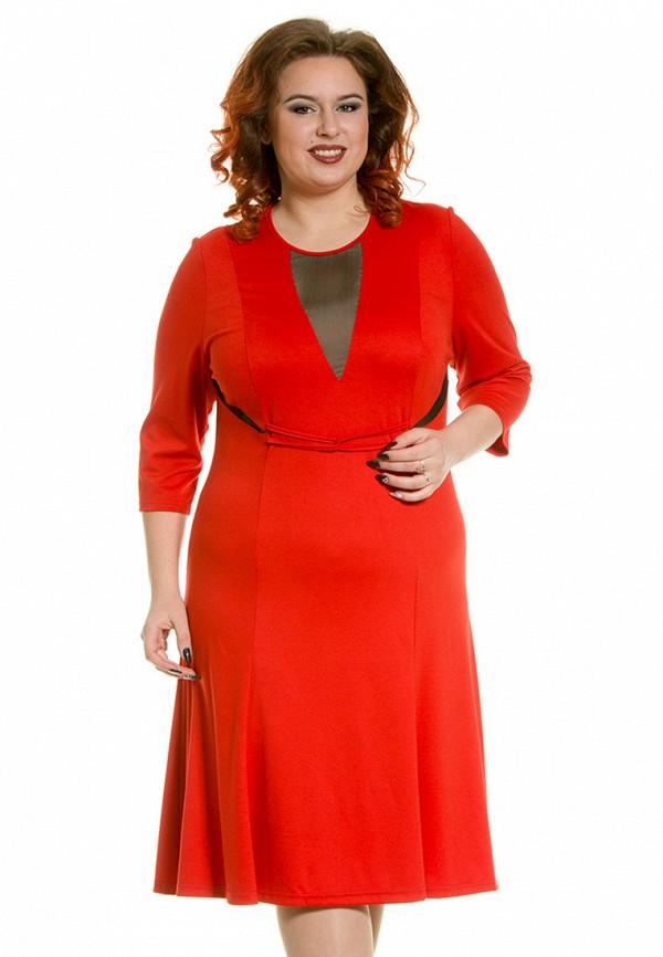 женское платье миди luxury plus, красное