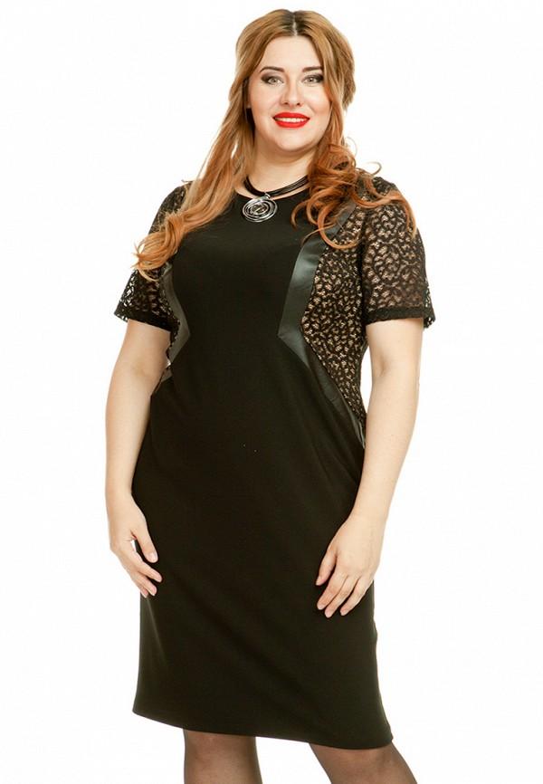 женское платье миди luxury plus, черное