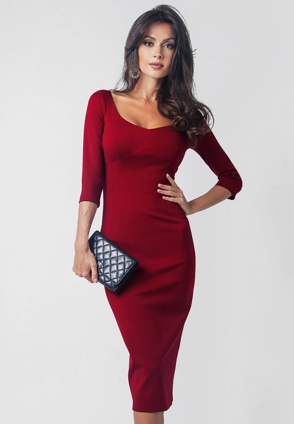 женское повседневные платье olga skazkina, бордовое