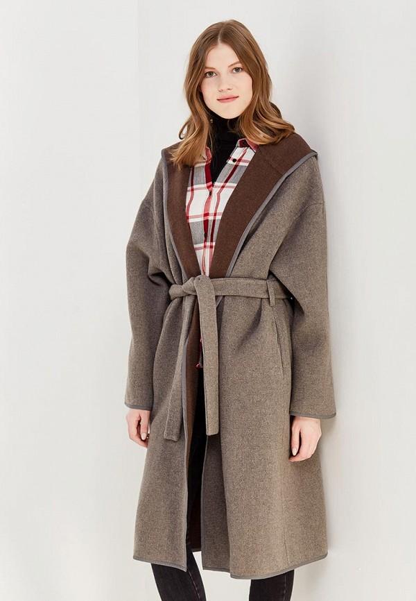 женское пальто ли-лу, бежевое