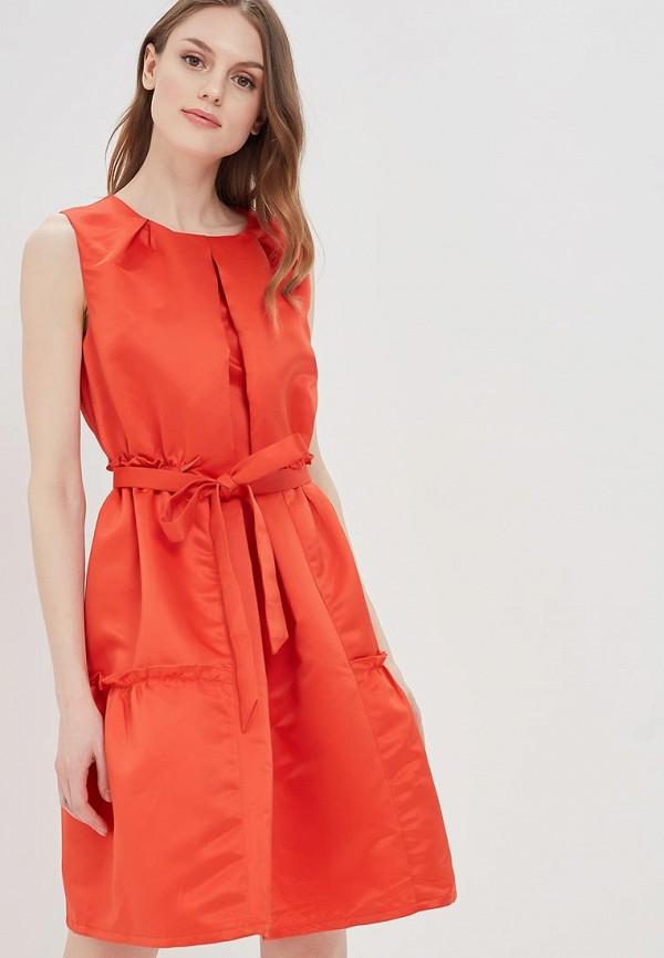 женское платье миди cavo, оранжевое