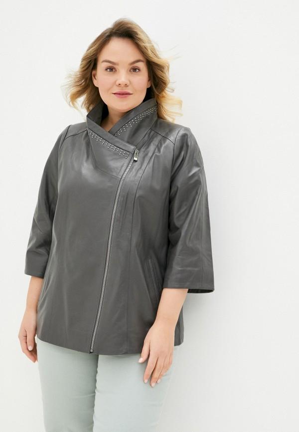 женская кожаные куртка le monique, серая