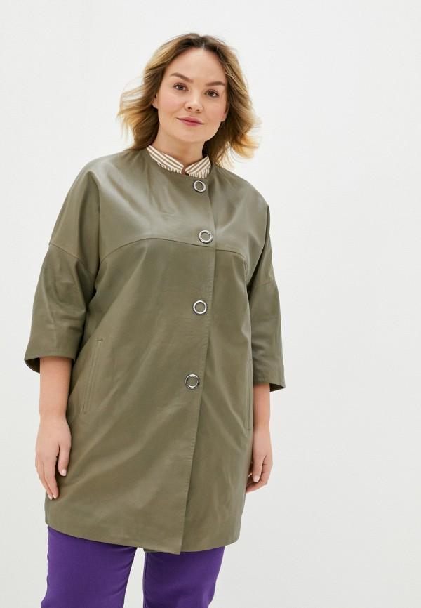 женская кожаные куртка le monique, коричневая