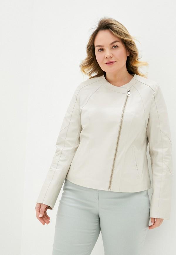 женская кожаные куртка le monique, бежевая