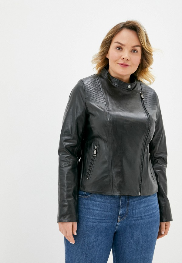 женская кожаные куртка le monique, черная