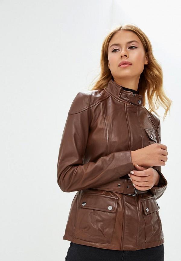 Куртка кожаная La Reine Blanche, PN76FW18, MP002XW1CROF, коричневый, Осень-зима 2018/2019  - купить со скидкой