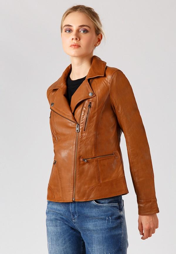 Куртка кожаная Finn Flare, MP002XW1CRU1, коричневый, Осень-зима 2018/2019  - купить со скидкой