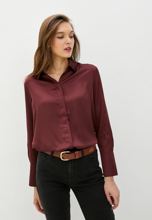 женская блузка с длинным рукавом zarina, бордовая