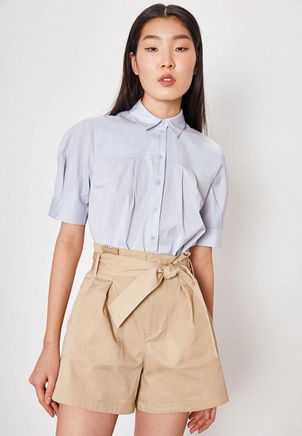 женская рубашка с коротким рукавом lime, голубая