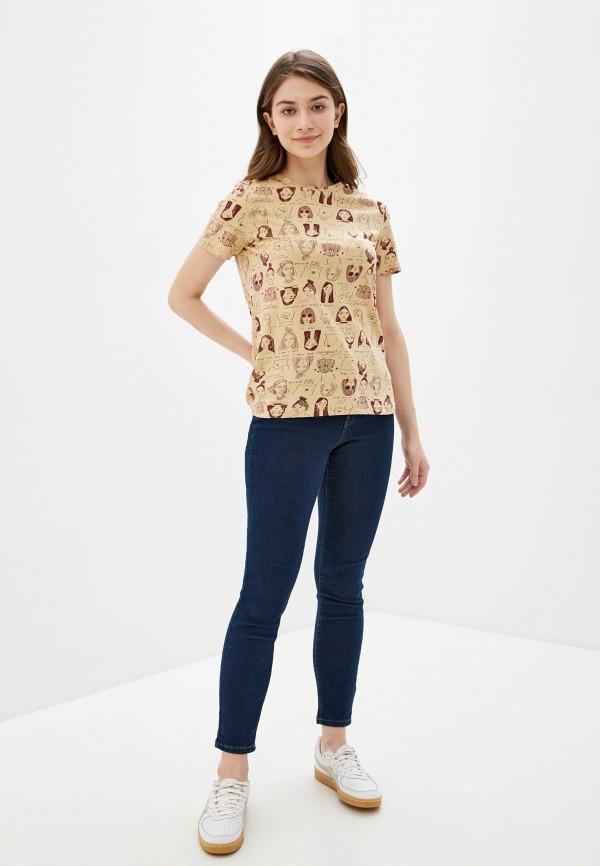 Фото 2 - Женскую футболку Befree бежевого цвета