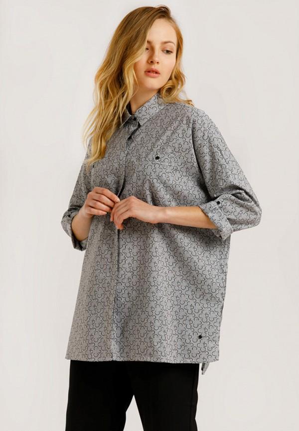 женская рубашка с длинным рукавом finn flare, серая