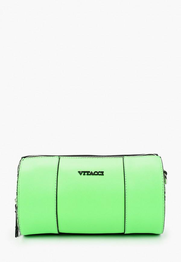 женская сумка через плечо vitacci, зеленая