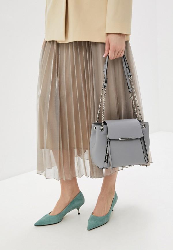 Фото 4 - Женскую сумку Eleganzza серого цвета