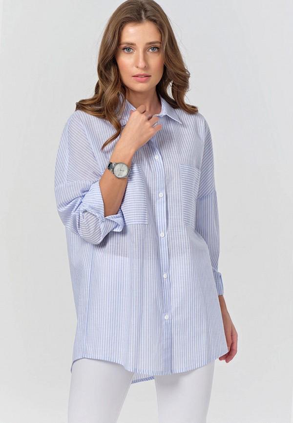 женская рубашка с длинным рукавом fly, голубая